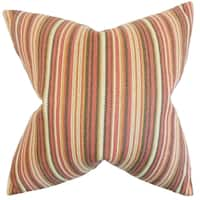 Janan Stripes Feather Filled Flame Throw Pillow