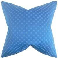 Kasen Solid Feather Filled Azure Throw Pillow