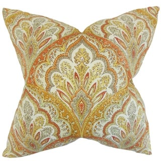 Xanthipe Paisley Feather Filled Amber Throw Pillow (Orange/Yellow/Multi - 20-Inch)