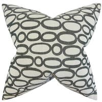 Razili Geometric Feather Filled Ebony Throw Pillow