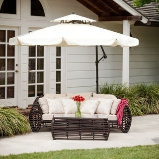 Outdoor Baja Banana Canopy Umbrella with Base by Christopher Knight Home