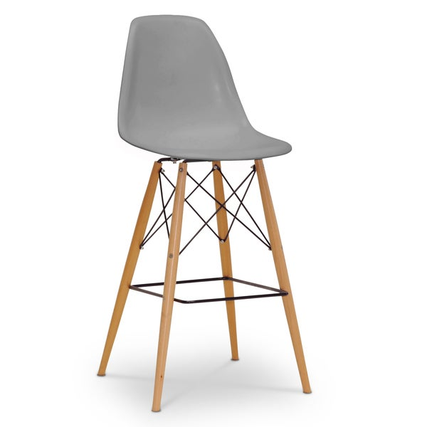 Modern Grey Plastic Bar Stool By Baxton Studio Free