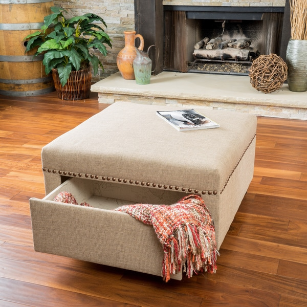 Darby Square Fabric Storage Ottoman by Christopher Knight Home - Darby Square Fabric Storage Ottoman By Christopher Knight Home