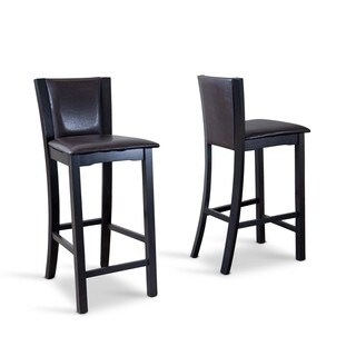 """Traditional Dark Brown Faux Leather 24"""" Counter Stool by Baxton Studio"""
