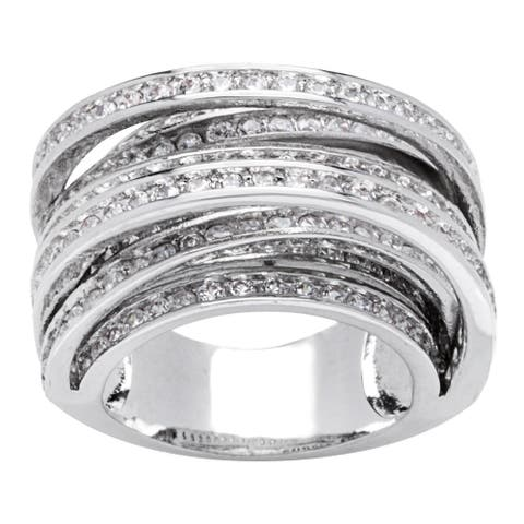 8-Row Silver Cross Over Channel-set CZ Band Ring by Simon Frank Designs