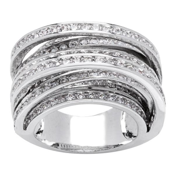 Shop Black Friday Deals On 8 Row Silver Cross Over Channel Set Cz Band Ring By Simon Frank Designs On Sale Overstock 9557017