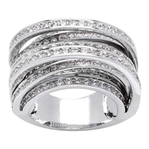 8-Row Cross Over Channel-set Cubic Zirconia Band Ring by Simon Frank Designs