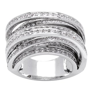 Simon Frank 8-row Hand-set Channel-set CZ Ring - Silver