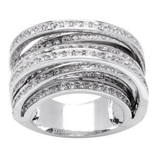 8-Row Cross Over Channel-set CZ Band Ring by Simon Frank Designs