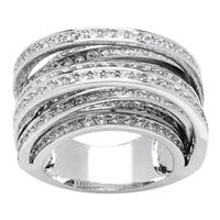 Simon Frank Designs 8-row Cross Over Hand Channel-set CZ Ring - Silver