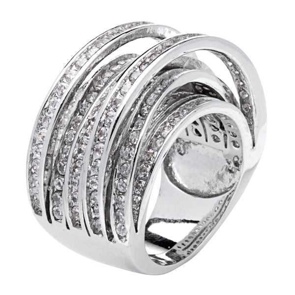Simon Frank Designs 8-Row Cross Over Channel-set CZ Band Ring - Silver