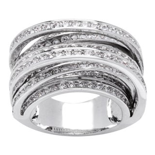 Simon Frank Designs 8-row Cross Over Hand Channel-set CZ Ring - Silver (4 options available)