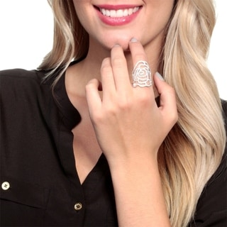 Simon Frank Silvertone Cubic Zirconia Lace High Fashion Ring
