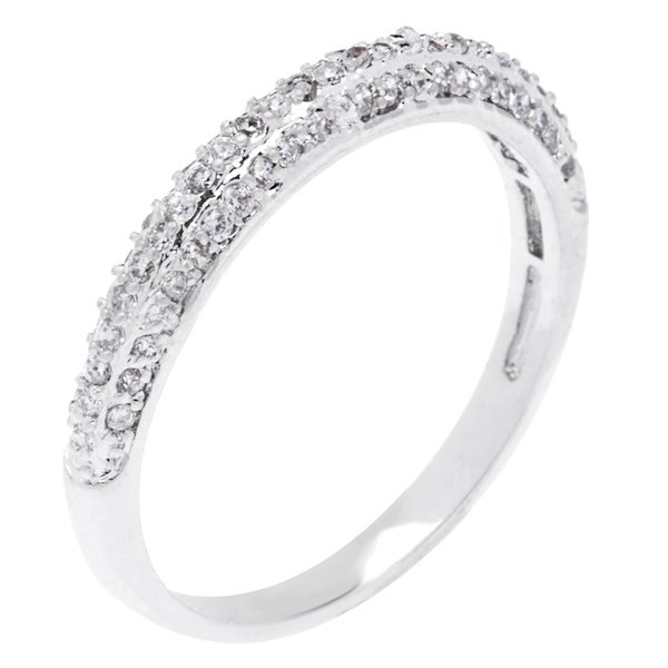 Simon Frank Designs Simple & Elegant  3-row Micro Pave CZ Band - Silver