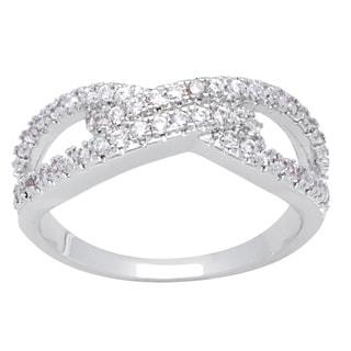 Simon Frank Silvertone Micro Pave Cubic Zirconia Infinity Ring