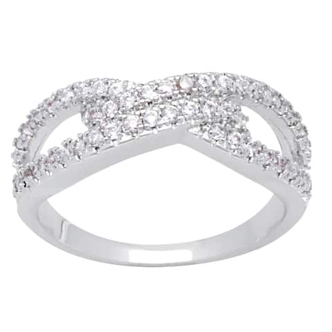 Micro Pave Cubic Zirconia Silver Infinity Ring by Simon Frank Designs