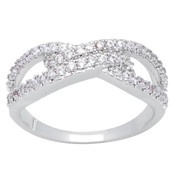 Simon Frank Designs Micro Pave Cubic Zirconia Silvertone  Infinity Ring - Silver