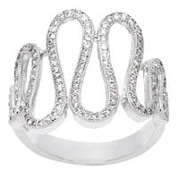 Simon Frank 'Beautiful Light' Collection Micro Pave CZ Wave Ring - Silver