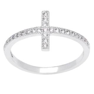 Simon Frank Silvertone Micro Pave Cubic Zirconia Cross Ring - Silver
