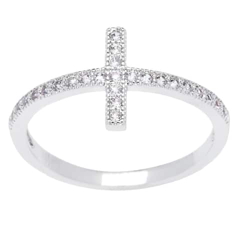 Silver Micro Pave Cubic Zirconia Cross Ring by Simon Frank Designs