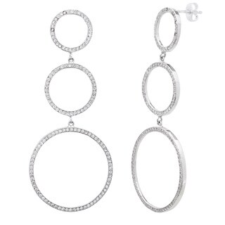 Simon Frank Silvertone Pave-set Cubic Zirconia Triple Circle Drop Earrings
