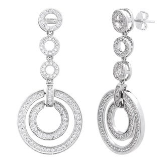 Simon Frank Silvertone Pave CZ 5-Circle Drop Earring