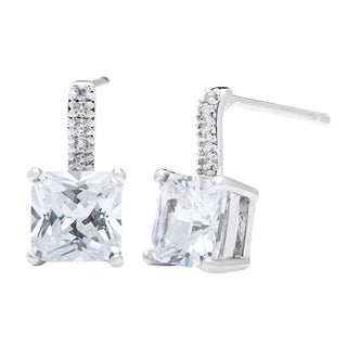 Simon Frank 1.42ct TDW Princess-cut CZ Drop Earrings