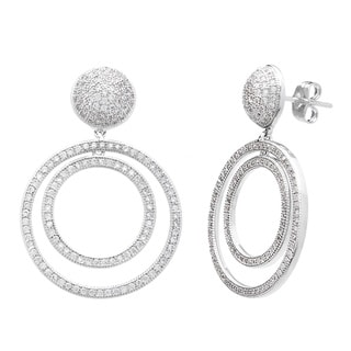 Simon Frank Silvertone Pave-cut Cubic Zirconia Dome Double Circle Earrings