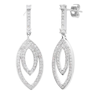 Simon Frank Silvertone Pave-set Cubic Zirconia Elegant Drop Earrings