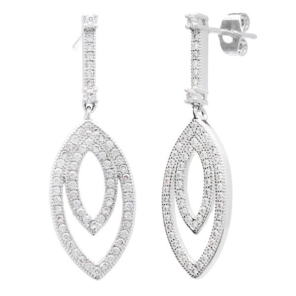 Simon Frank Silvertone Pave Set Cubic Zirconia Elegant Drop Earrings