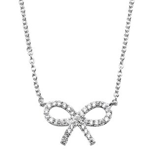 Simon Frank Collection Silvertone Cubic Zirconia Bow Necklace