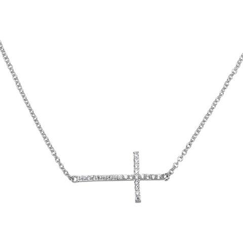 Simon Frank Collection Cubic Zirconia Sideways Cross Necklace