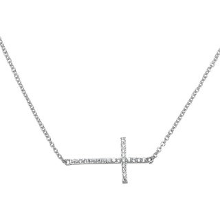 Simon Frank Collection Cubic Zirconia Sideways Cross Necklace
