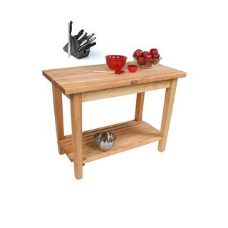 John Boos 36x24 Country Maple Work Table C01C-S / Shelf / Casters with Henckels 13-piece Knife Block Set