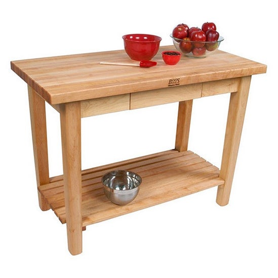 John Boos Country Maple Work Table/ Drawer/ Casters/ Shelf With Henckels 13