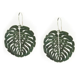 Handmade Copper Patina Cut-work Leaf Dangle Earrings (Mexico)