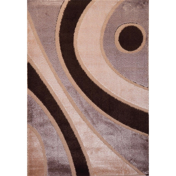 Brown and Tan Modern Contempo Turkish Area Rug - 8' x 11'