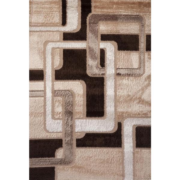 Brown and Tan Geometric Contempo Turkish Area Rug - 8' x 11'
