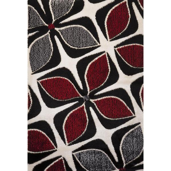 Red and Grey Floral Signature Turkish Area Rug - 8' x 11'