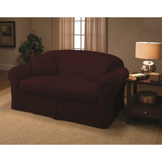 Suede 2-piece Loveseat Slipcover
