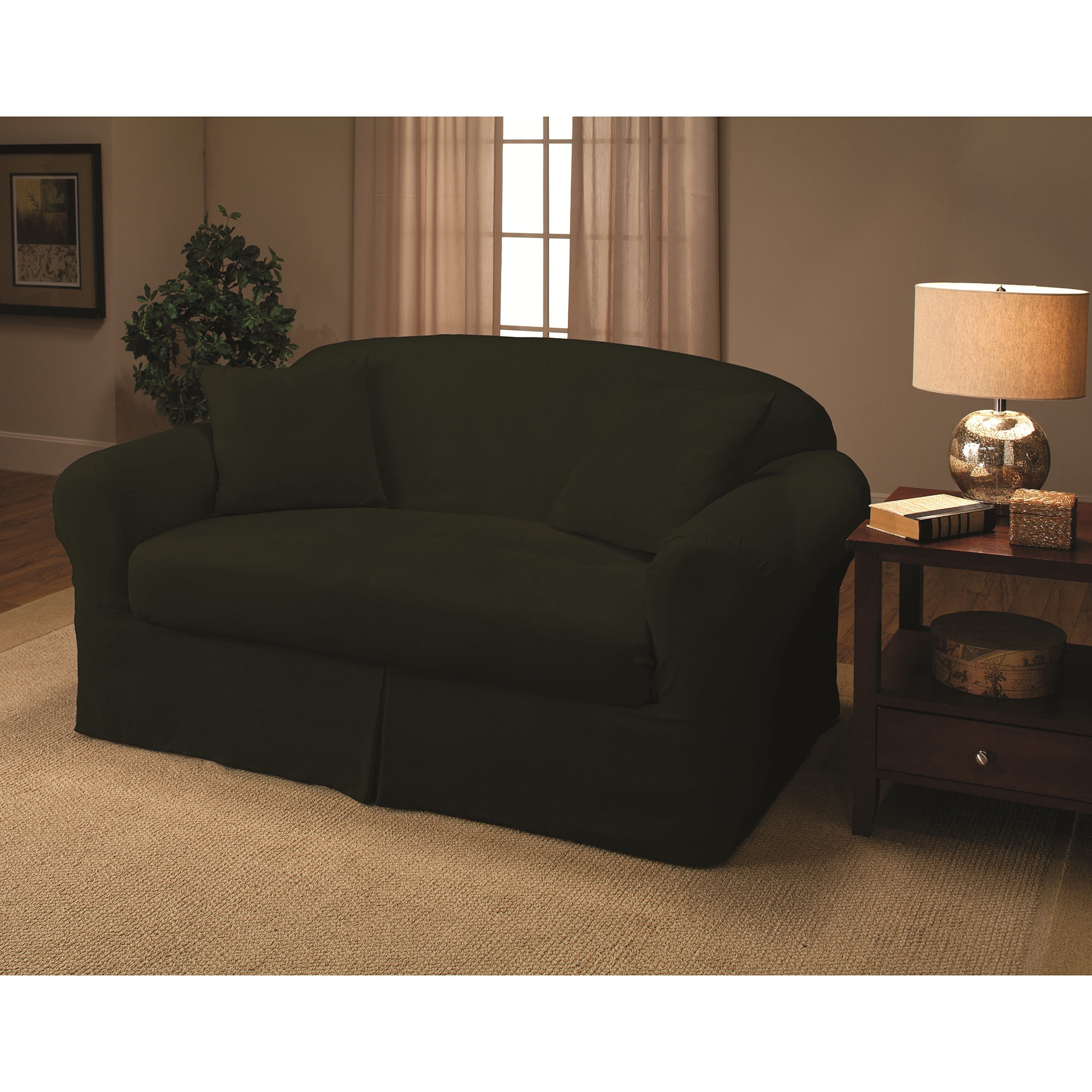 Sanctuary Suede 2-piece Loveseat Slipcover (Green) (Polye...