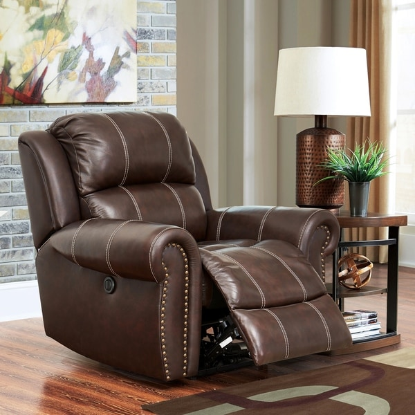 Shop Abbyson Vienna Hand Rubbed Top Grain Leather Pushback