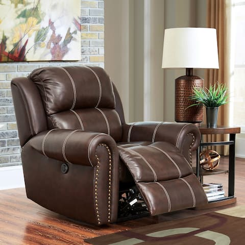 Abbyson Clarendon Top Grain Leather Power Recliner