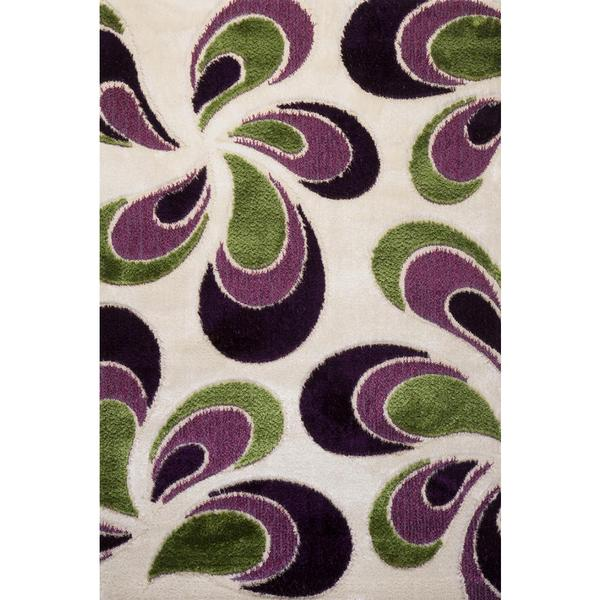 Green and Purple Floral Turkish Area Rug (8' x 11') - 8' x 11'