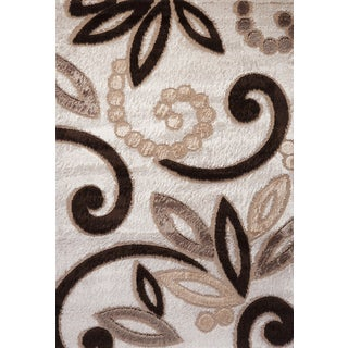 Brown and Tan Spiral Contempo Turkish Area Rug (3' x 8')