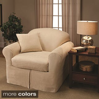 Wonderful Sanctuary Suede 2 Piece Chair Slipcover