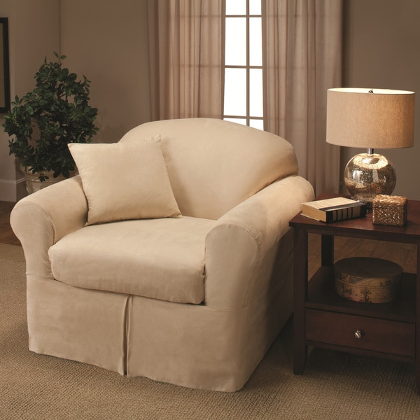 Charming Sanctuary Suede 2 Piece Chair Slipcover