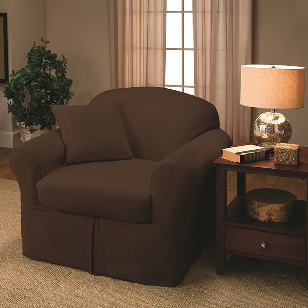 Sanctuary Suede 2 Piece Chair Slipcover   Free Shipping Today    Overstock.com   16738180