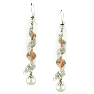 Handcrafted Sterling Silver and Copper Modern Spiral Dangle Earrings (Mexico)