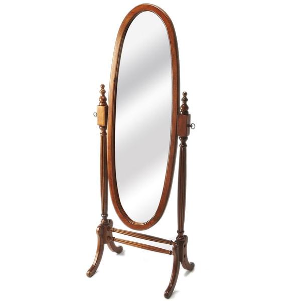 Olive Ash Burl Oval Cheval Mirror - Antique Pecan